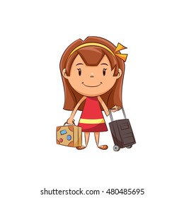 Girl and baggage, vector illustration