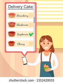 Girl in Bakery Holding Phone with Delivery Cake Poster Vector Illustration. Client Ordering Raspberry Pie via Online Application. Smiling Happy Cartoon Woman with Cupcake with Cream and Berry.