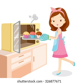 Girl Baking Cupcake, Kitchen, Ware, Crockery, Cooking, Food, Bakery, Occupation, Lifestyle