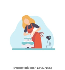 Girl Baking and Decorating Cake.Young Woman Blogger Recording Video on Camera and Posting It on Social Media. Online Channel Concept Vector Illustration