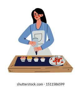 Cartoon Woman With Apron Decorating Cupcakes Royalty Free Cliparts,  Vectors, And Stock Illustration. Image 36776697.
