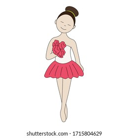 Girl ballerina with a bouquet of roses.