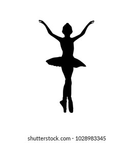 Girl ballerina silhouette dance ballet. Vector illustration
