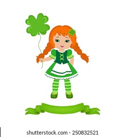 Girl with balloon in the Irish costume, isolated on a white background.  Vector illustration. St. Patrick's Day.