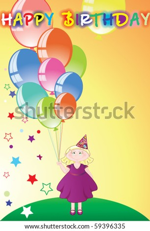 Girl With Balloons In Her Hands Birthday Congratulations
