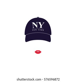 Girl with a baseball cap with text NY New York. Vector illustration.