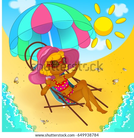 781c6c88a9 A girl in a bathing suit and sunglasses is sitting in a beach chair under a