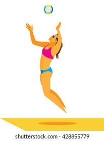 girl is a beach volleyball player serve the ball in jump
