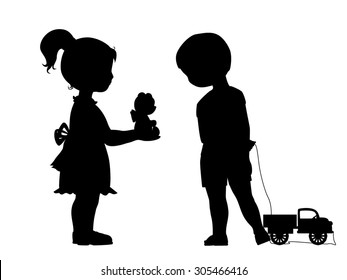 Girl with bear toy and boy with little car silhouettes. Children's friendship.