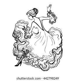 Girl in a beautiful ball gown. Spanish woman dancing flamenco. Hand drawn vector illustration.
