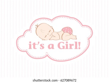 It's a Girl - Beautiful card to celebrate the new family member. In a pastel pink lines color background!