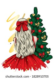 Girl in a beautiful dress with long hair and a bow. Fashion and style, vintage and retro. New Year's and Christmas.