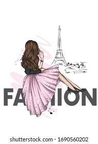 Girl in a beautiful dress and shoes. France and Paris. Vector illustration for greeting card or poster, fashion and style, clothes and accessories.