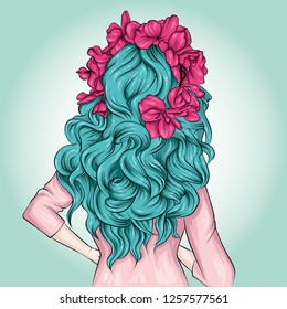 A girl with beautiful long hair and a colored wreath. Vector illustration for postcard or poster, print for clothes. Fashion & Style.