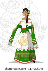 Girl with beautiful Mexican dress, representing the Mexican Independence festivities. Articulated doll