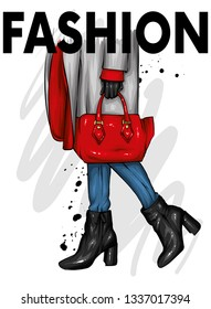 Girl in beautiful shoes with heels, a coat and with a stylish bag. Fashion and style, clothing and accessories. Vector illustration for greeting card or poster, print on clothes.