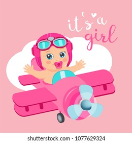 It's A Girl Beautiful Vector Card. Cute Airplane With Arrival Girl Aviator. Cartoon Illustration With Ahoy It's A Girl. Baby Shower Invitation Card.