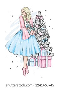 A girl in a beautiful vintage dress. Vector illustration. Clothing and accessories, vintage and retro. Taxi and the city. New Year's and Christmas tree.