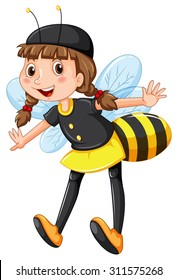 Girl in bee costume illustration