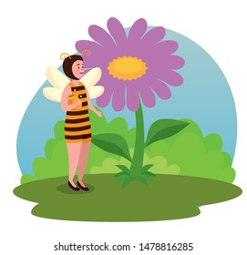 girl bee fairy with flower plant and leaves