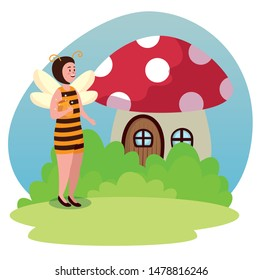 girl bee fairy with fungus house and bushes