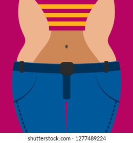 Girl before and after losing weight, big jeans, changing clothes size, fat body transform into slim, obesity and weight loss. Vector illustration