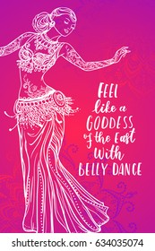 Girl belly dance vector illustration, pink background. Calligraphy banner. Use for posters, covers, flyers, postcards, banner designs,