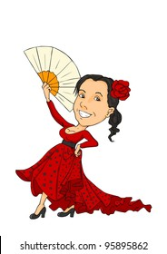 A girl with a big smile dancing in red dress