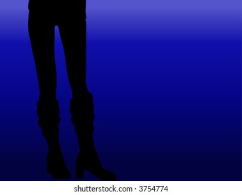 Girl in biker boots - silhouetted vector