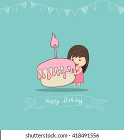 Girl with birthday cupcake, drawing by hand vector