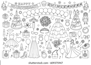 Girl birthday doodle set on white background. Vector objects and elements for birthdays, quinceanera, party and graduation ball. Coloring page.