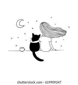 Girl and black cat on the roof. Starry sky Hand drawing isolated objects on white background. Vector illustration.