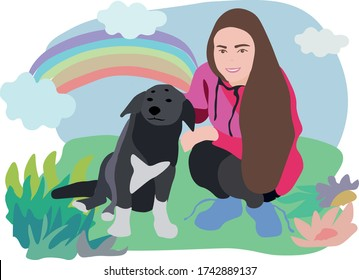 Girl and black dog. Help stray animals. Volunteers Support for nature. The girl loves dogs. A kind dog loves people.