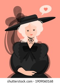 A girl in a black dress of the 18-19th century and a hat with large brims and feathers. Noble portrait. Bubble with a heart. Colorful vector illustration in flat cartoon style.