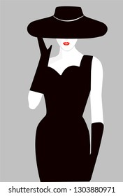 girl in a black dress with a red little hat and a hat vector illustration. fashion girl in a hat vector. girl silhouette in retro style.