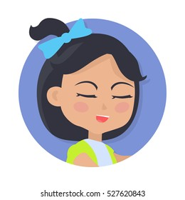 Girl with black pigtail and blue bow avatar userpic. Speaking young person with close eyes. Girl in round button. Portrait of nice female person in green-blue t-shirt. Simple cartoon style. Vector