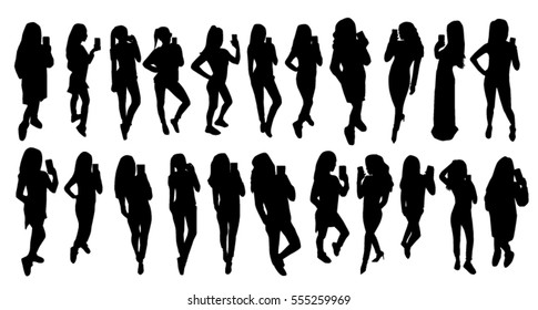 Girl black silhouettes taking selfie with smart phone set