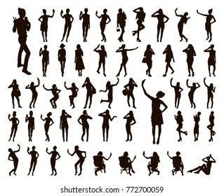 Girl black silhouettes taking selfie with smart phone