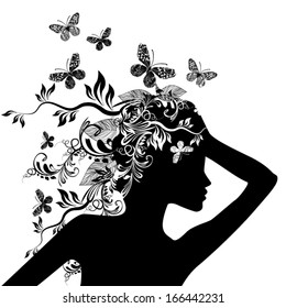 girl black and white floral abstraction. Vector