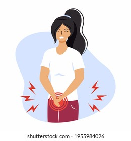 A girl with bladder disease. Cystitis, urethritis, incontinence or other problems of the urethra.