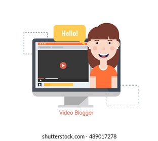 Girl Blogger Video Computer. Concept blogging.Digital blog. Flat Vector Illustration