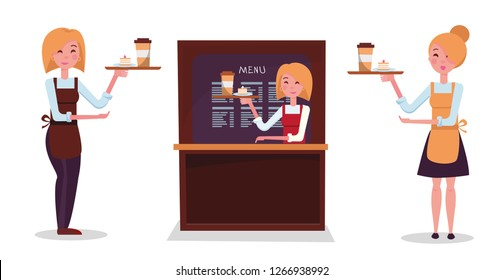 Girl blonde waiter. Set of three waitresses: in skirt, in trousers, behind the counter. Character holds tray with order: paper Coffee Cup and cake. Cute smiling face. Flat cartoon vector illustration