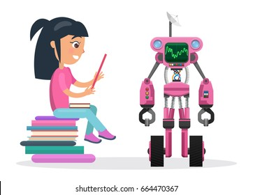 Girl in blouse and jeans profile sits on pile of books and reads beside robot with eyes and powerful antennas isolated vector illustration on white background.