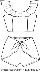Girl Blouse and short pants  fashion design template outline