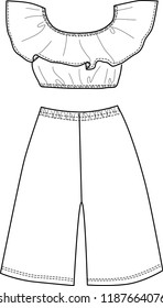 Girl Blouse and Trousers fashion design template outline