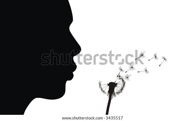 Girl blow dandelion. See more vector dandelions in my portfolio.