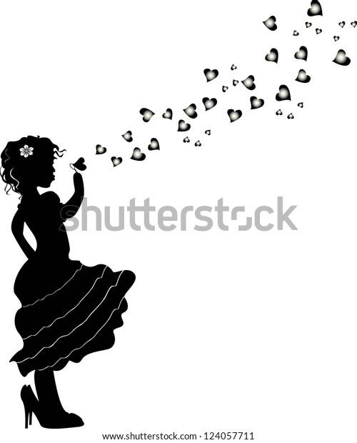 Vector De Stock Libre De Regalias Sobre Girl Blowing Bubbles Vector124057711