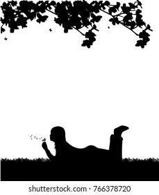 Girl blowing the dandelion in park under the tree silhouette, one in the series of similar images