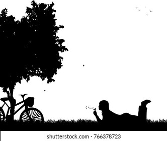 Girl blowing the dandelion in park under the tree, one in the series of similar images silhouette