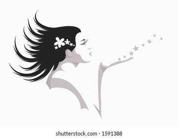Girl blowing flowers away - layers for easy editing